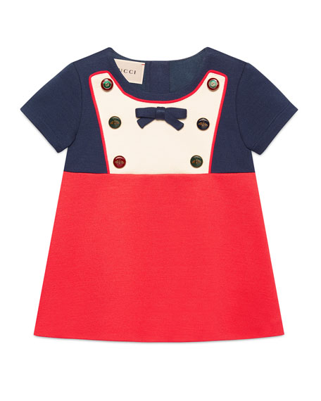 Gucci Short-Sleeve Button & Bow Colorblock Dress, Size