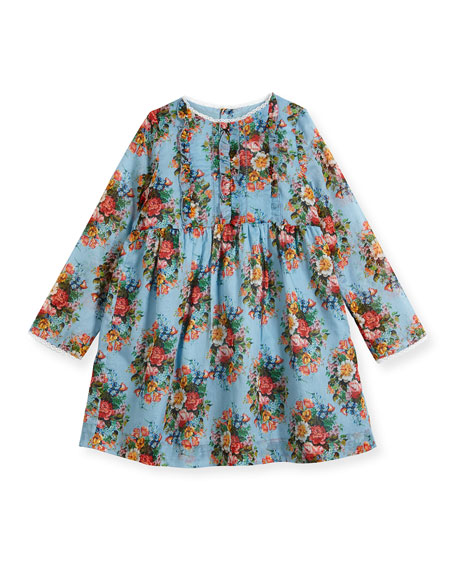 Long-Sleeve Floral Dress, Size 12-36 Months