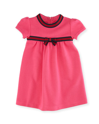 Short-Sleeve Web-Trim Dress, Size 6-36 Months