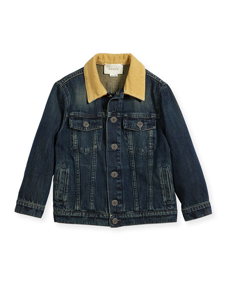 Gucci Boys' Corduroy-Collar Logo Denim Jacket, Size 5-12