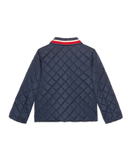 Quilted Web Trim Coat, Size 4-12