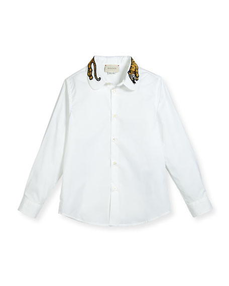 Gucci Long-Sleeve Button-Down Shirt w/ Tiger Collar, White,