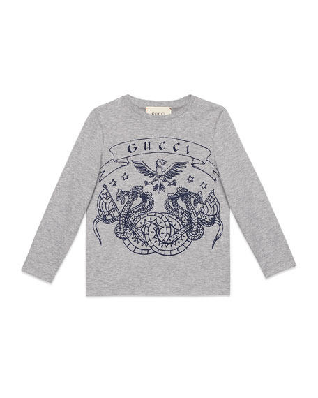 Gucci Long-Sleeve Eagle-Print T-Shirt, Size 4-12