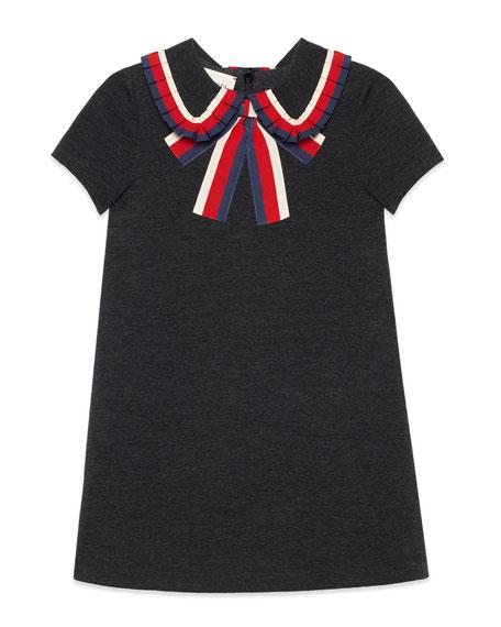 Gucci Short-Sleeve Sylvie Web Dress, Size 4-12