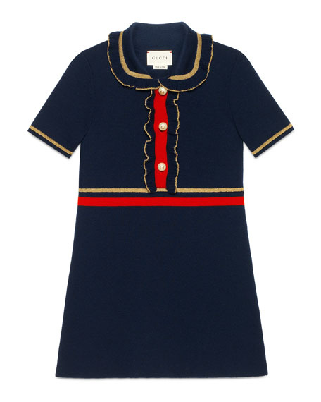 Gucci Ruffle Collar Dress, Size 4-12