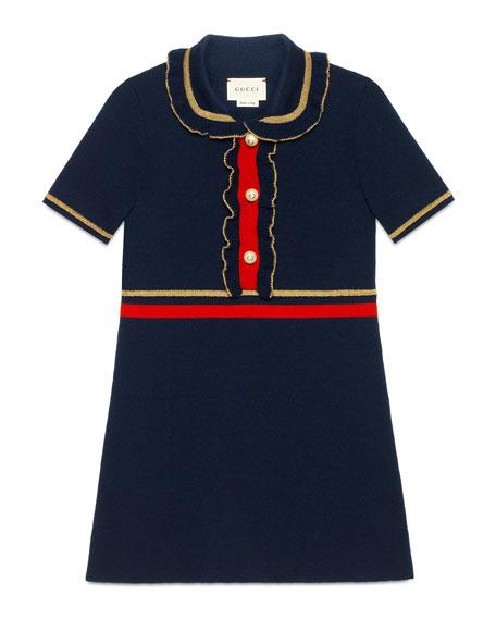 Gucci Ruffle Collar Dress, Size 4-12