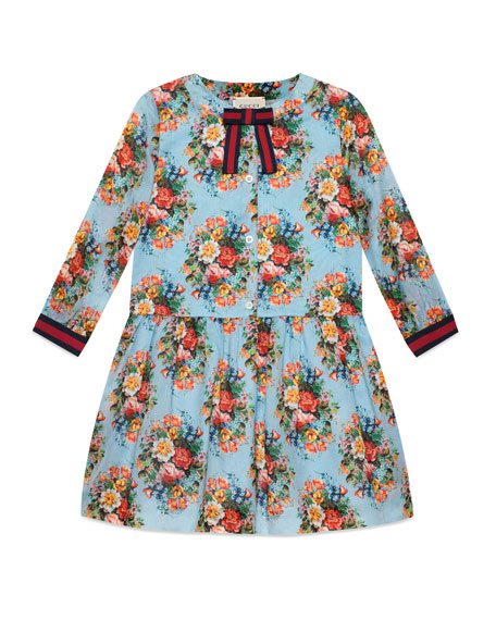 Gucci Long-Sleeve Floral Dress, Size 4-12