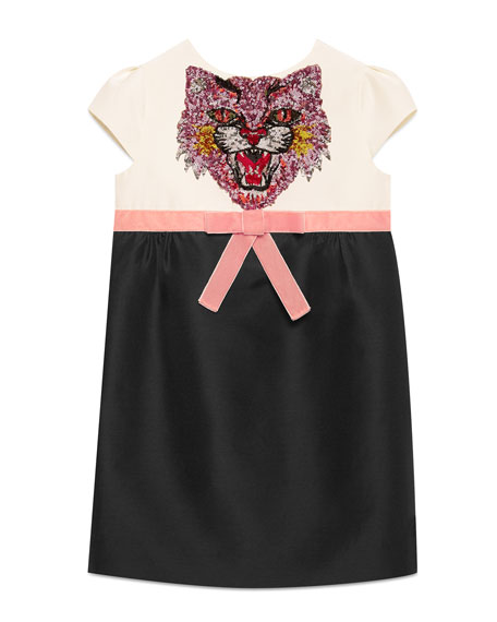 Gucci Sequin Angry Cat Colorblock Cady Dress, Size