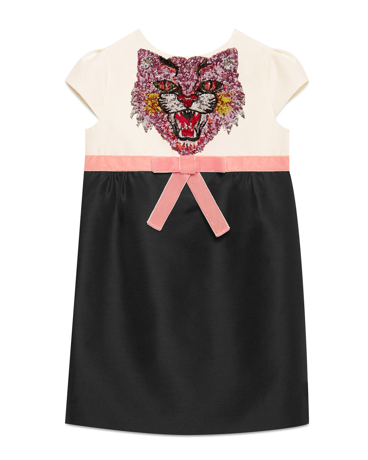 fa677bfcdc3b Gucci Sequin Angry Cat Colorblock Cady Dress, Size 4-12 | Neiman Marcus