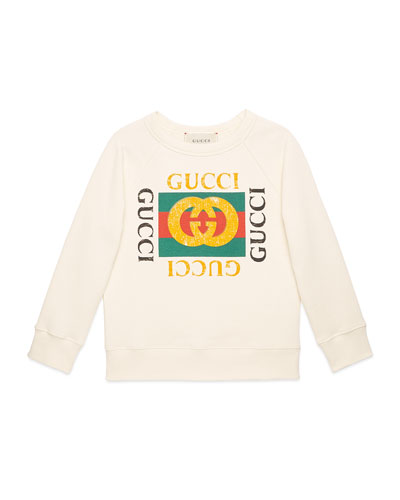 Long-Sleeve Gucci Print Sweatshirt, Size 4-12