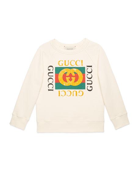 Gucci Long-Sleeve Gucci Print Sweatshirt, Size 4-12
