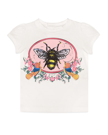 Gucci Cap-Sleeve Bee Print T-Shirt, Size 6-36 Months