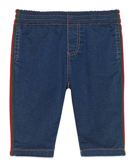 Gucci Denim Leggings with Web Trim, Size 9-36