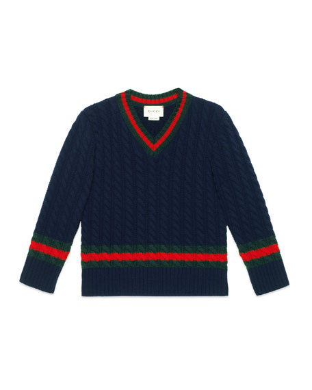 Gucci Long-Sleeve V-Neck Wool Sweater, Size 4-12