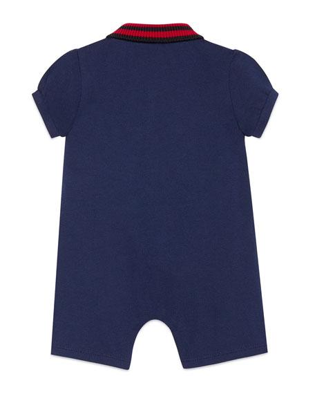Knit Web Collar Stretch Piquet Shortall, Size 3-18 Months