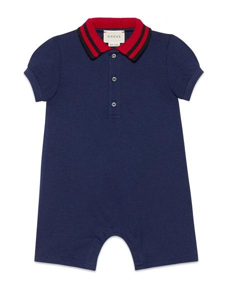 Gucci Knit Web Collar Stretch Piquet Shortall, Size