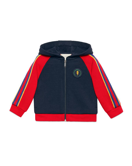 Gucci Lightning & Web Trim Hooded Sweatshirt, Size