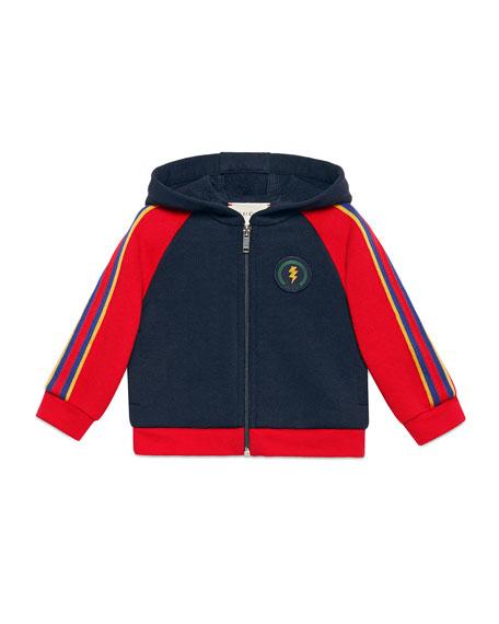 Gucci Lightning & Web Trim Hooded Sweatshirt, Size