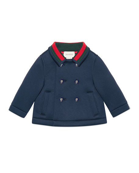 Gucci Double-Breasted Feline-Button Peacoat, Size 12-36 Months