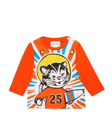 Gucci Long-Sleeve Space Cat T-Shirt, Size 9-36 Months