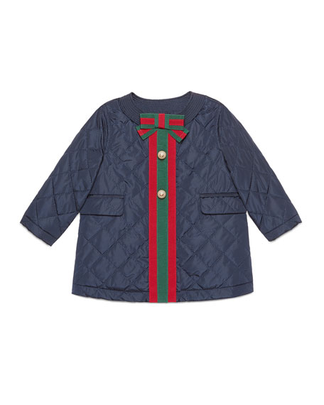 Gucci Padded Quilted Coat with Web Trim, Size