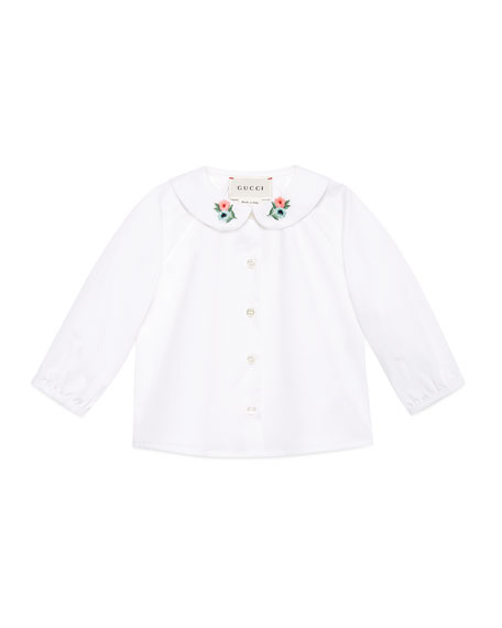Gucci Long-Sleeve Loved Flower Collar Shirt, Size 12-36