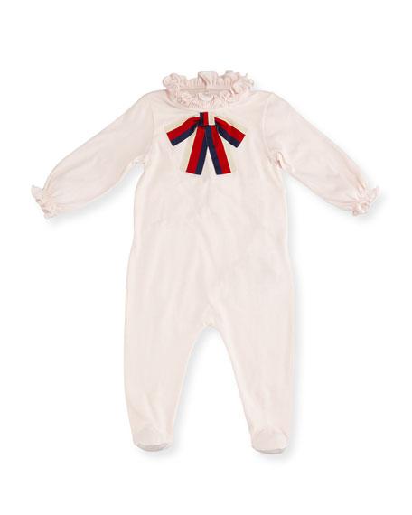 Gucci Ruffle Footie Pajamas w/ Sylvie Web Bow,