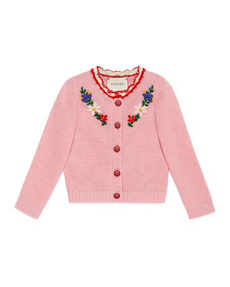 Gucci Flower Crochet Wool-Blend Cardigan, Size 6-24 Months