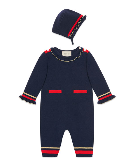 Gucci Metallic Ruffle-Trim Coverall Gift Set, Size 3-18