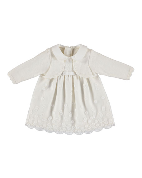 Floral Embroidered Dress w/ Attached Cardigan, Size 4-12 Months