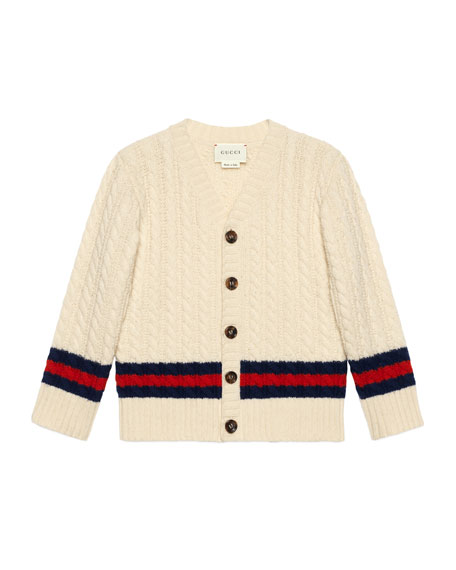 Gucci Long-Sleeve Web Cable-Knit Cardigan, Size 4-12