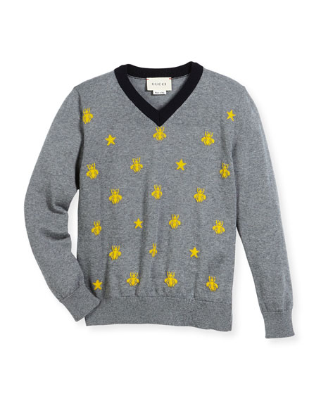 Gucci Long-Sleeve Bees & Stars Merino Wool Sweater,