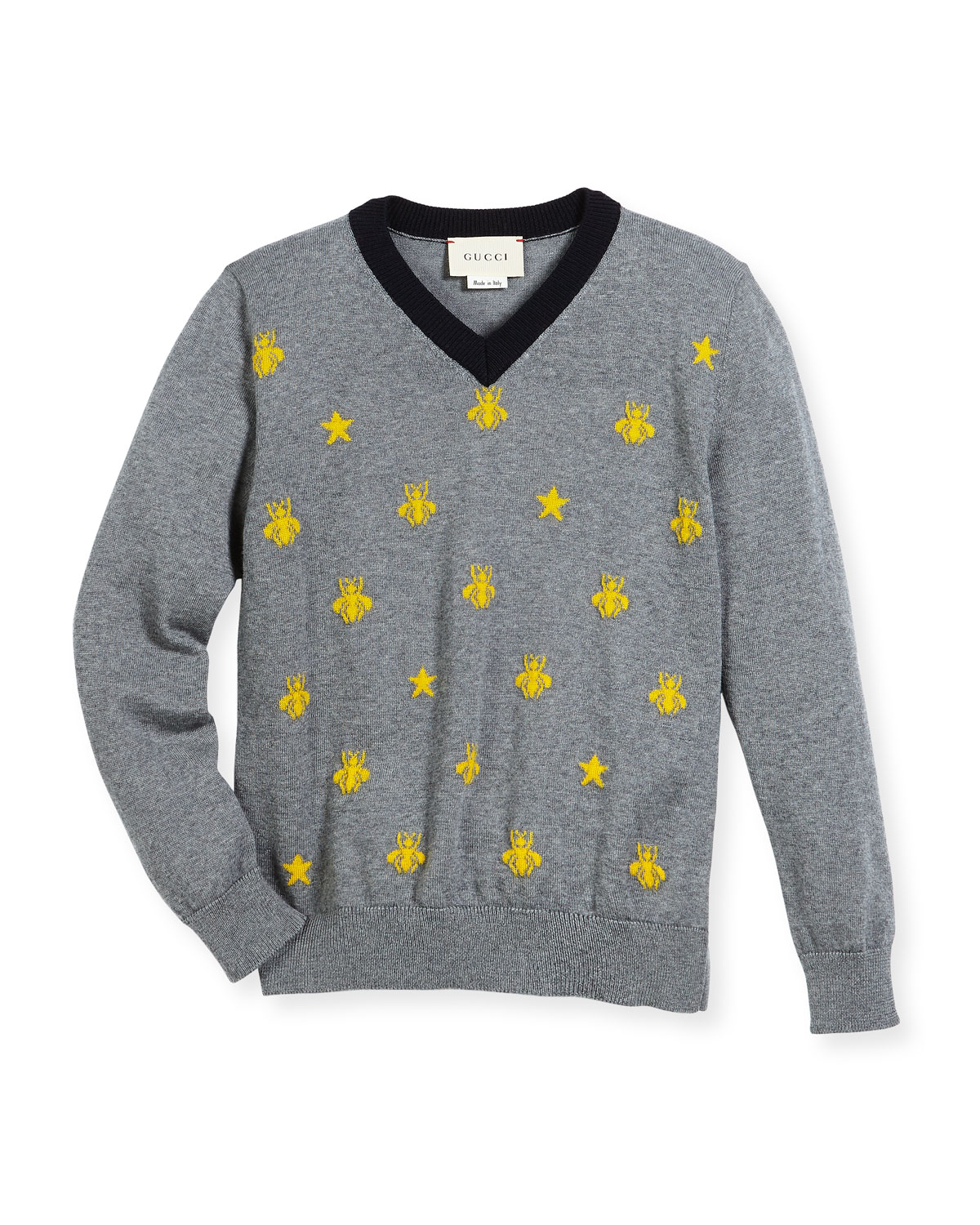 96df24429b7 Gucci Long-Sleeve Bees   Stars Merino Wool Sweater