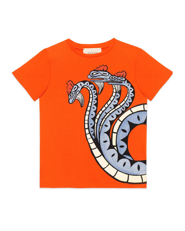 037f158b Gucci Three-Headed Dragon T-Shirt, Size 4-12 | Neiman Marcus
