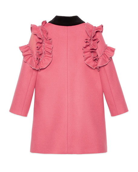 Ruffle-Trim Wool Coat, Size 4-12