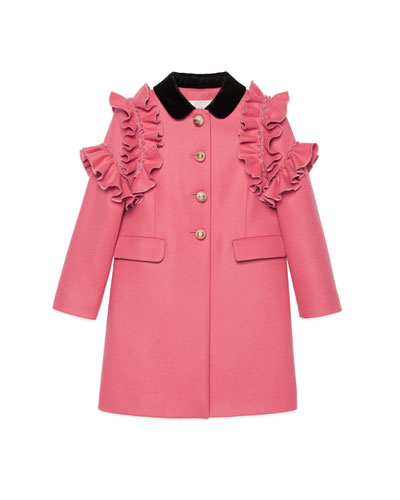 Ruffle-Trim Wool Coat, Size 4-12