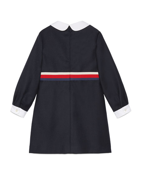 Long-Sleeve Sylvie Web Trim Dress, Size 4-12