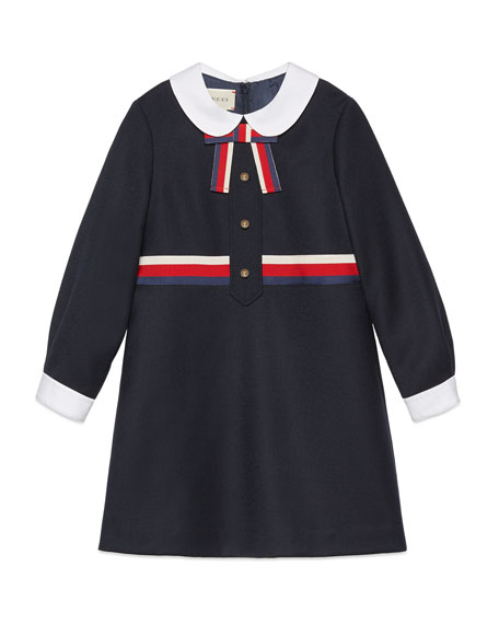 Gucci Long-Sleeve Sylvie Web Trim Dress, Size 4-12