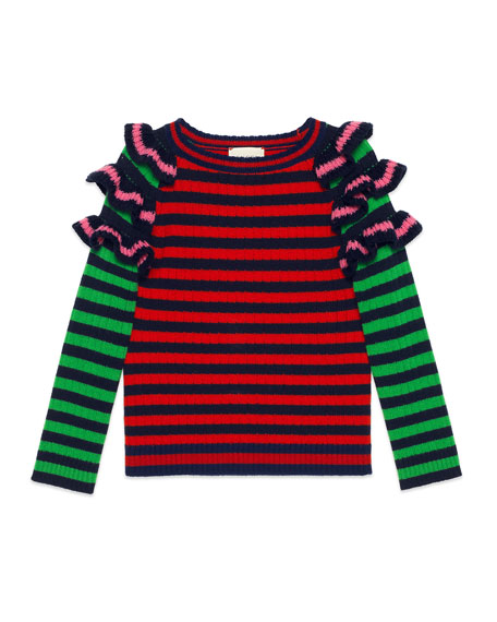 Gucci Striped Ruffle Wool Sweater, Size 4-12