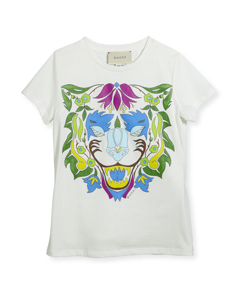 Gucci Short-Sleeve Lion T-Shirt, Size 4-12