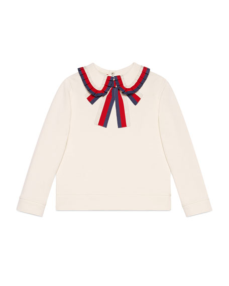 Gucci Long-Sleeve Sylvie Web Trim Sweatshirt, Size 4-12