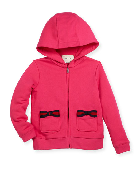 Hooded Zip-Up Sweatshirt w/ Web Bows, Size 4-12