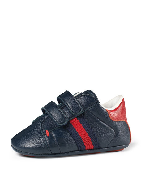 Gucci Leather Grip-Strap Sneaker, Infant