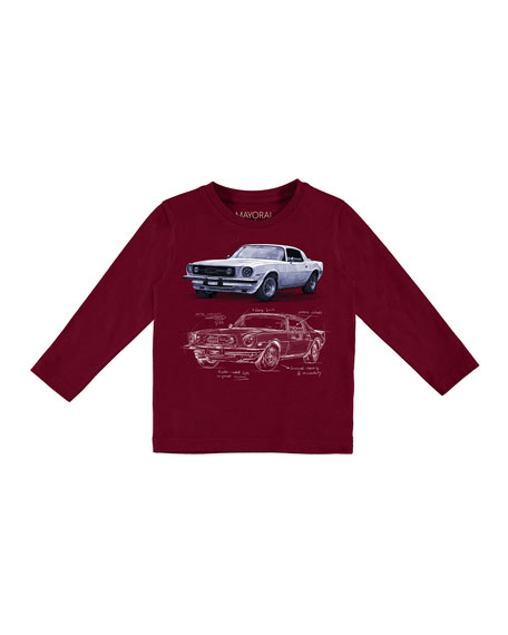 Mayoral Long-Sleeve Car T-Shirt, Size 3-7