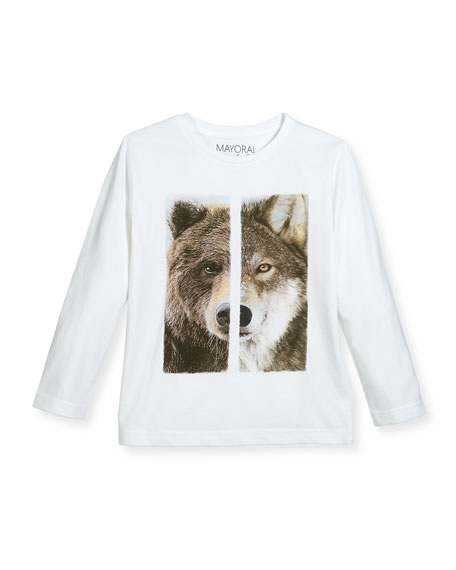 Mayoral Wolf & Bear Long-Sleeve T-Shirt, Size 3-7