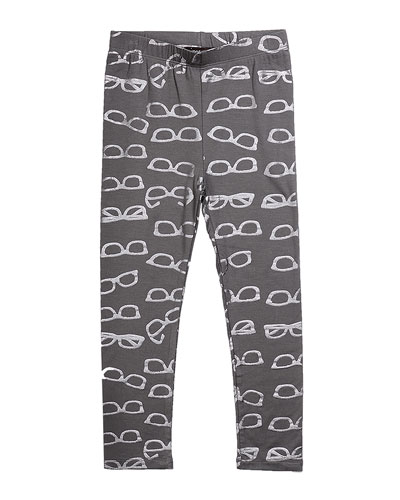 Jersey Leggings with Metallic Shades-Print, Gray, Size 2-6