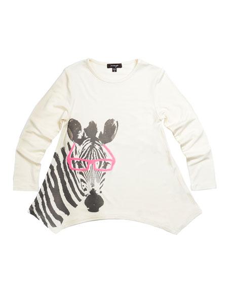Watercolor Zebra Tunic, White, Size 2-6