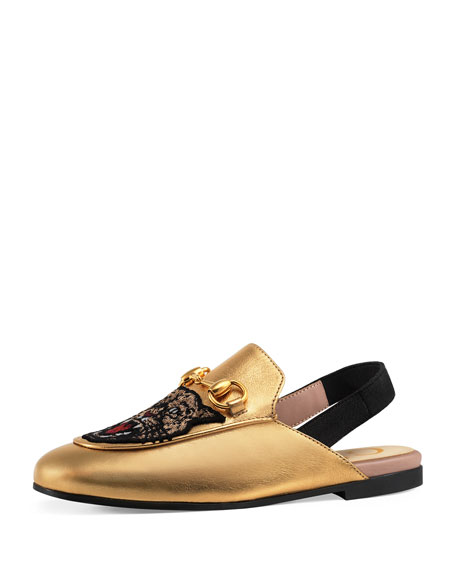Gucci Angry Cat & Flower Metallic Leather Mule