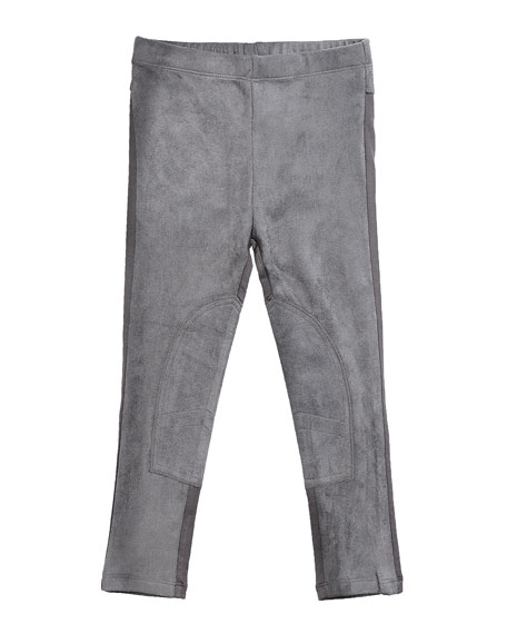 Stretch Suede and Jersey Leggings, Gray, Size 2-6