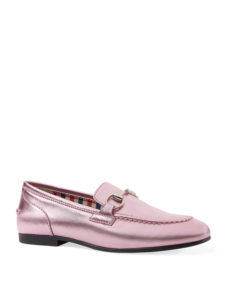 Gucci Metallic Leather Moccasin, Toddler/Youth Sizes 10T-2Y